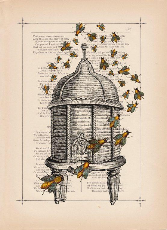 BeekeepingBees Hives, Honey Be, Bees U Ti, Bee Hives, Bees Illustration, Hives Prints, Beekeeping, Bees Knee, Bees Buzz