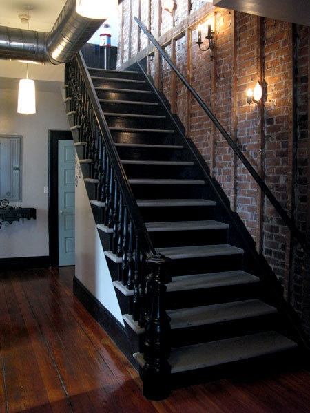 Lighting Basement Washroom Stairs: Black Staircase, Exposed Brick Wall, Wood Floors