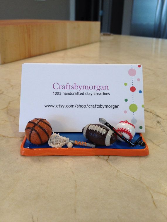 A Sports Fan Hockey and Baseball Football Polymer Clay Business Card Holder Stand  Try copy pic maybe.. For Christian..