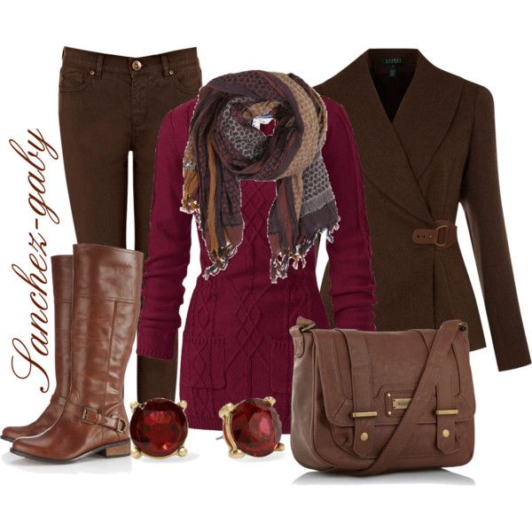 "I guess it's a winter outfit but the cranberry color screams ""fall/thanksgiving"" to ne"