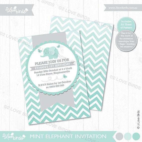 Mint Elephant Printable Invitation by 2LoveBirdsDesign on Etsy