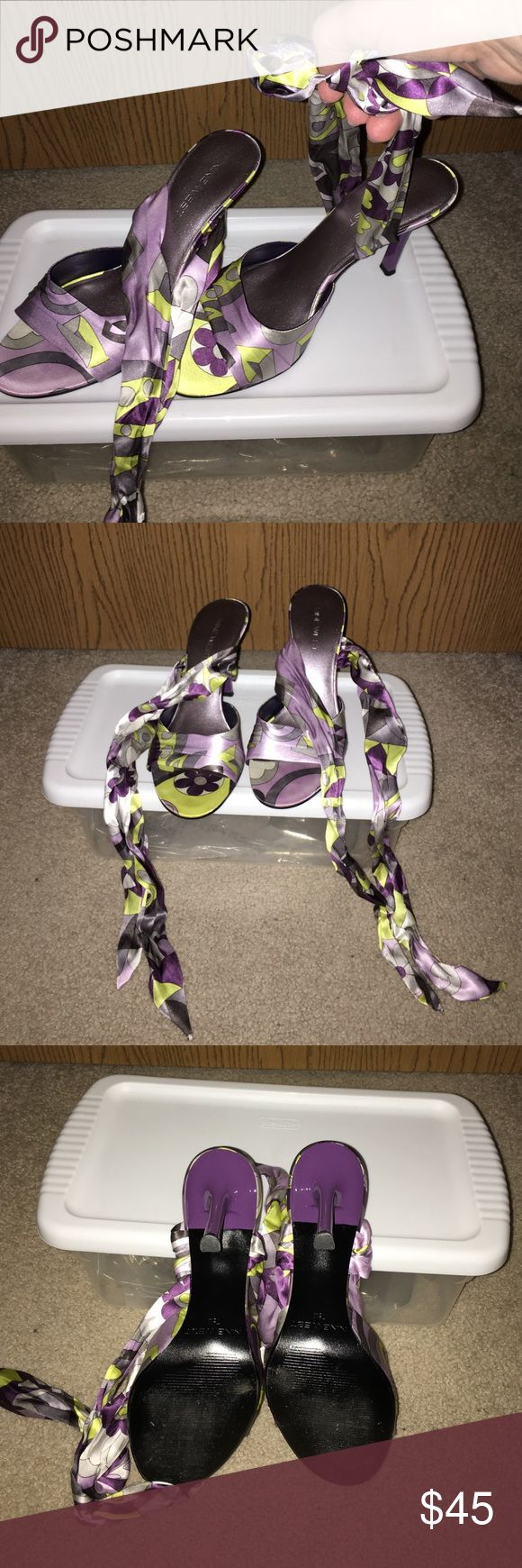 NWOT Retro Satin Open Toe, Ankle Wrap Sandals NWOT Retro Satin Open Toe, Ankle Wrap Sandals. GORGEOUS!! Beautiful retro purple & green theme, never worn. Would be beautiful for a wedding, summer party or just because! Nine West Shoes Sandals