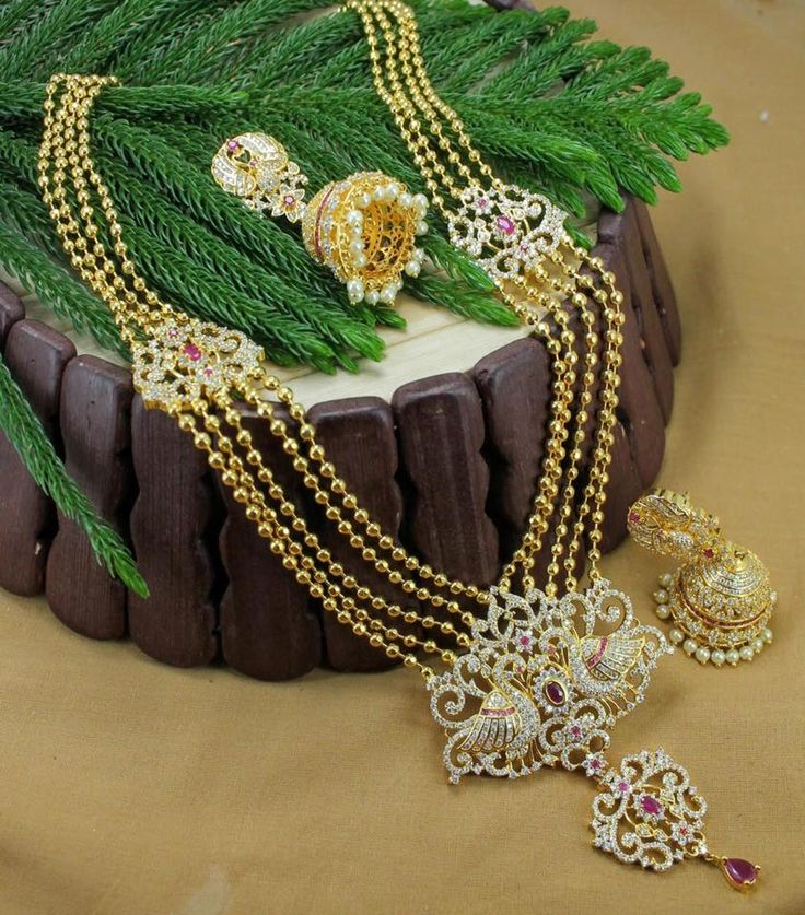 cz long necklace... Inbox us or whatsapp to 09581193795 to buy online  Or visit our showroom at LIG block no 11, F. No 9, 3rd Phase, KPHB, Kukatpally, Hyderabad  For more collections visit http://swarnakshi.com/product-category/necklace/long-necklace/