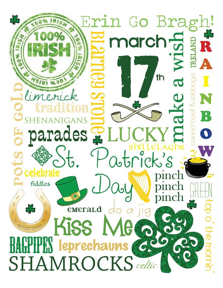 Free Printable: St. Patrick's Subway Art by mollie MY DESIGN {personal use only}