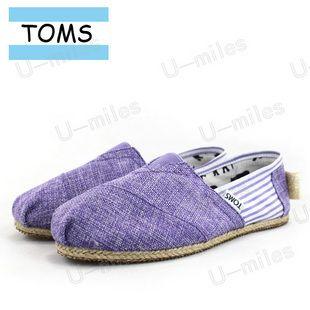 Toms Cordones Women Canvas Violet Split Joint Stripe