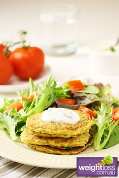 Healthy Lunch Recipes: Zucchini Fritters. #HealthyRecipes #DietRecipes #WeightlossRecipes weightloss.com.au