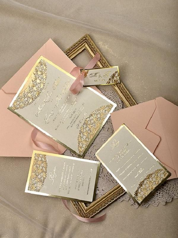 Gold and Peach Wedding Invitations