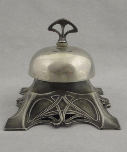 Antique-WMF-Germany-Art-Nouveau-Silver-plate-Mechanical-Desk-Bell-c-1900