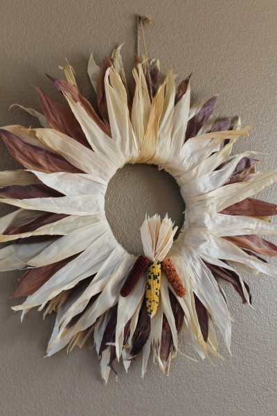 Indian Corn Husks Glued To A Straw Wreath In A Starburst Pattern For Thanksgiving