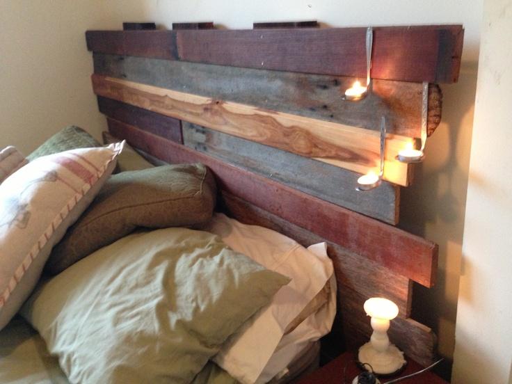 DIY reclaimed timber bedhead