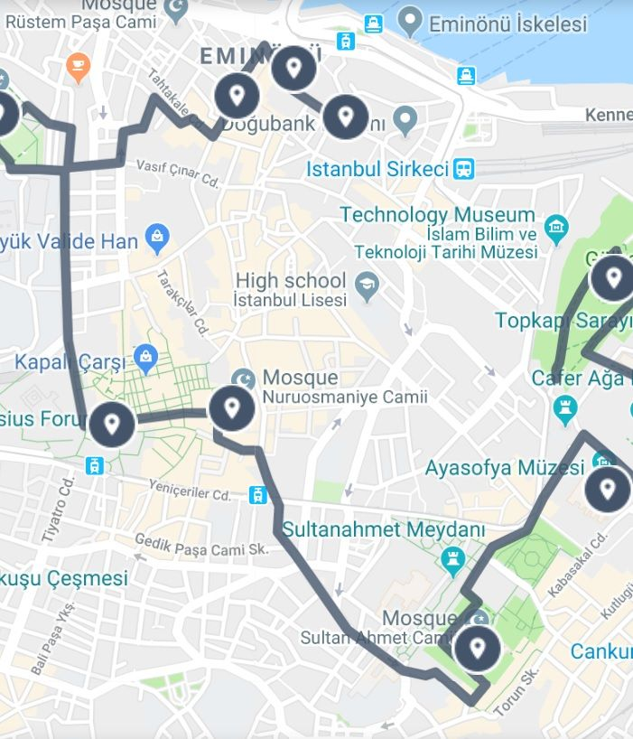 Istanbul Old City Walking Tour Map in 2019 | Istanbul ...