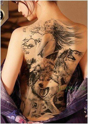 8212128bb541d Waterproof Temporary Tattoo Sticker Koi lotus mens whole back tattoo large  tatto stickers flash tatoo fake