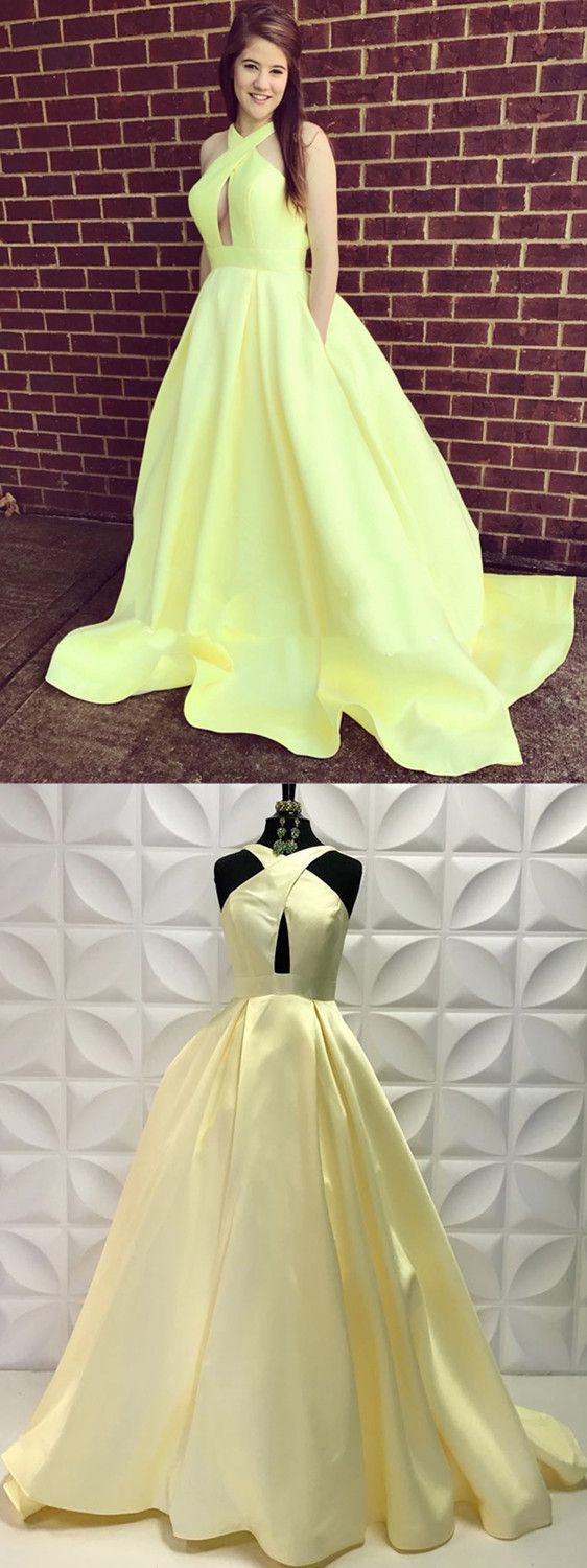 elegant yellow long prom dress with pockets, 2018 prom dress ball gown, yellow prom dress, long prom dress graduation dress