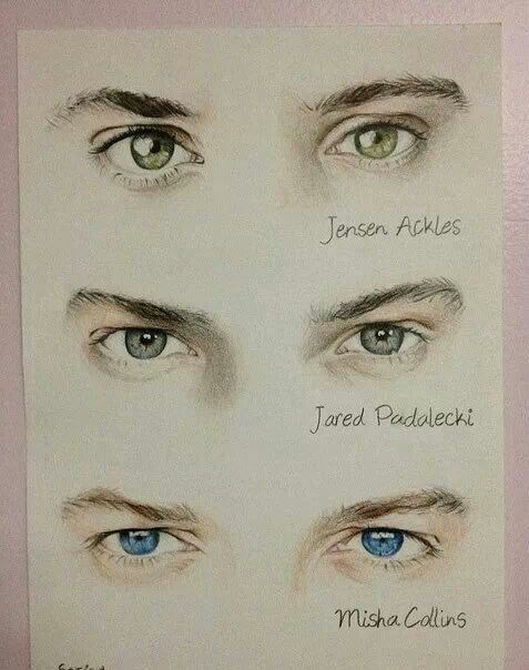 Supernatural. I knew there eyes before looking at the descriptions. Jared's eyes though... They have no color.