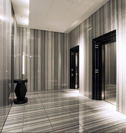 Nikken Space Design | Tokyo Midtown Residences. Marble lift lobby.