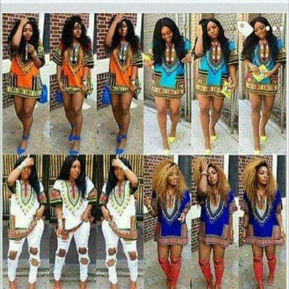 Dashiki Shirt Dress #LTBLUE #ORANGE #DKBLUE #WHITE LT Blue, White, Orange and Dark Blue Dresses Mini