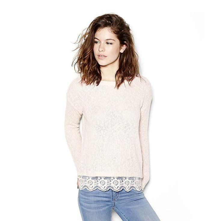 Slouchy Sweater with Lace Trim.