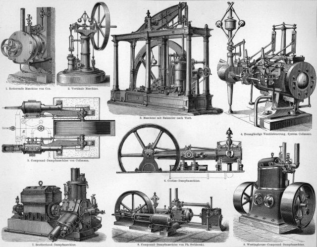F.A. Brockhaus' 1894 illustrations of various steam engines.