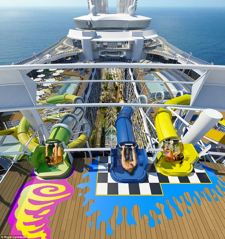 The Royal Caribbean's Harmony of the Seas will be the first of its fleet to feature an elaborate aquatic theme park. It's the park's signature ride, however, Ultimate Abyss slide, that is the real show-stopper, spiraling down 10 storeys