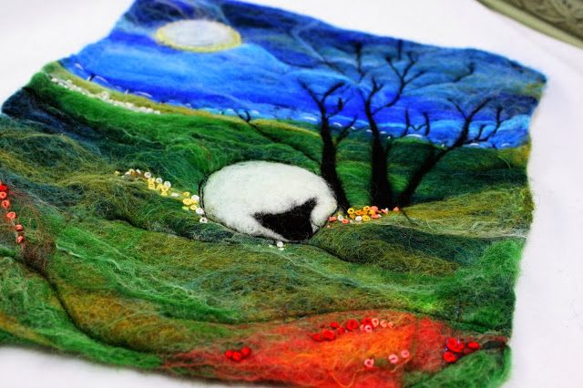 Wet felted, stitched and embroidered Scramp Alot: Felted sheep
