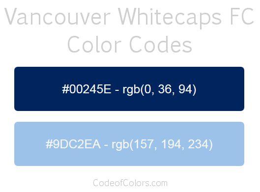 Vancouver Whitecaps FC Team Color Codes