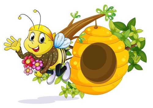 Cartoon bee and beehive vector material 12