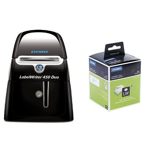 From 139.99 Dymo Labelwriter 450 Duo Label Maker And 4 X Rolls Of 260 Labelwriter Large Address Labels Of 36 X 89 Mm - Black On White