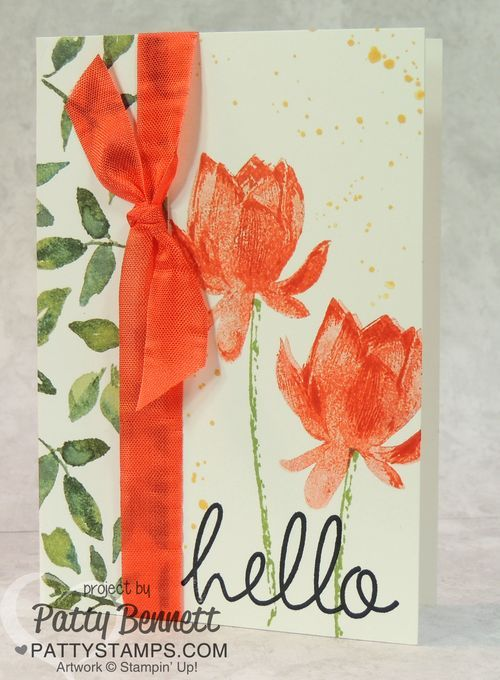Painted Blooms Designer Paper from the 2015 Stampin Up Occasions catalog and free Sale a Bration Lotus Blossom stamp set Thinking of You card by Patty Bennett #stampinup