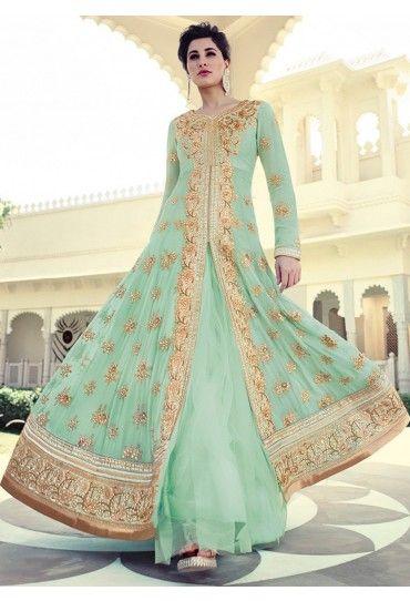 Nargis Fakhri Georgette Anarkali Style Suit with Bamberg Chiffon Dupatta