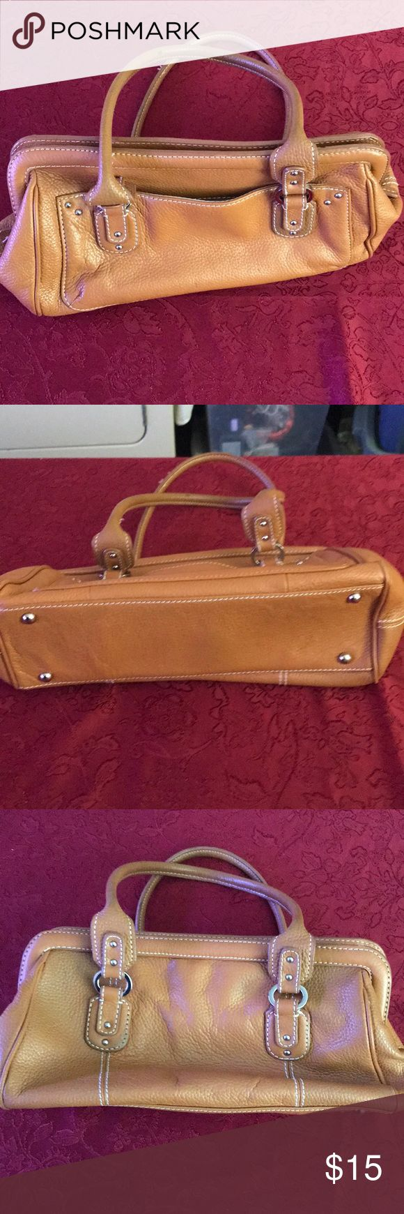 GUC Tignanello Handbag. Slight wear on one corner EUC Tignanello Handbag in beautiful tan color. Small, but functional. Measurements are 13x7x4 Tignanello Bags Satchels