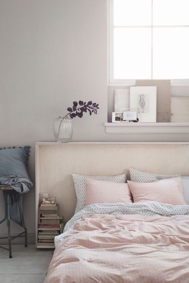 A Beautiful Pink And Grey Bedroom Via Hu0026m