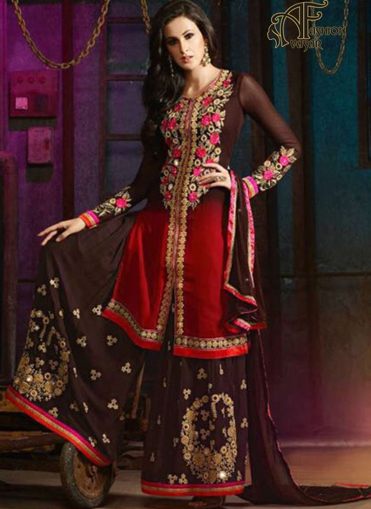 brown salwar suits online – indian georgette designer salwar kameez online shopping