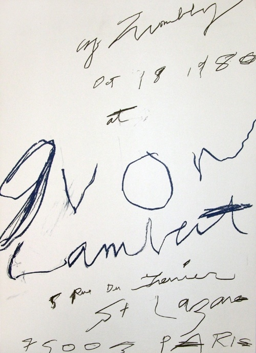 Cy Twombly, Galerie Yvon Lambert, 1980; color-offset after an original scetch on deckle edged paper; 70 x 50 cm