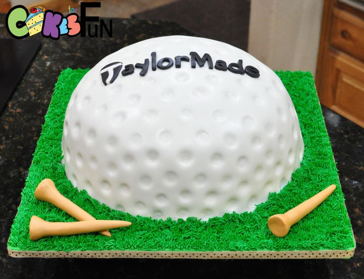 "Carved 3 layer 12"" cake covered with fondant and textured. Cake board decorated with buttercream frosting using the grass tip. Fondant golf tees."