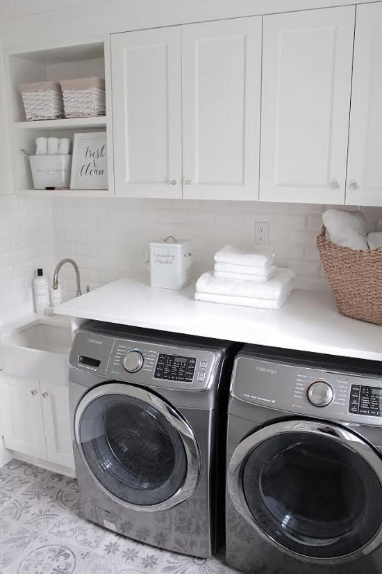 via JSHomeDesign | The Laundress products | Laundry room décor | Laundry room styling | White laundry room