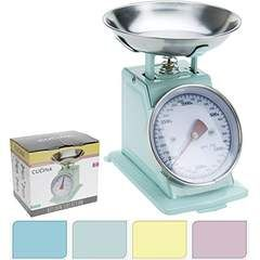 Küchenwaage Waage retro bis 3000g rosa blau gelb mint Metall 20x11x18 cm Backen (Rosa)