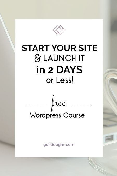 FREE Wordpress course to help you start your site and launch it in 2 days or less! Seriously, I'll show you in these 14 steps, I practically hold your hand. There are 4 modules and you can jump in anywhere you need help.