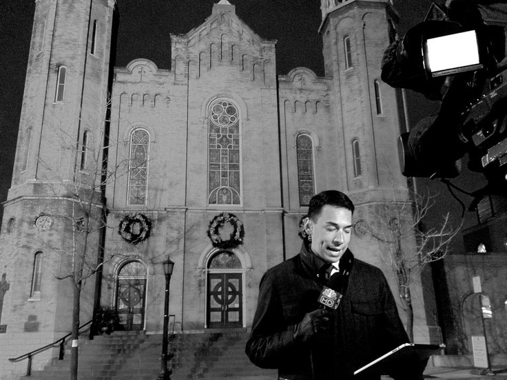 Stefan Holt reporting in front of Old St. Pat's in Chicago.