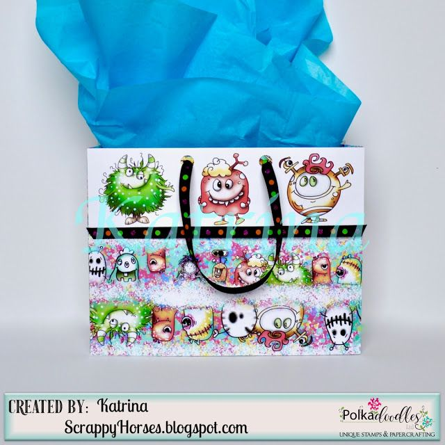 ScrappyHorses: Monstrous Wrapping, Polkadoodles, Gift Bag,  #pdcraft  #pdoodlescraft