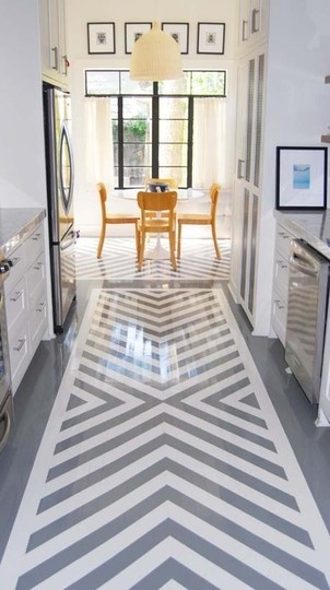Love the grey chevron floors and yellow table.