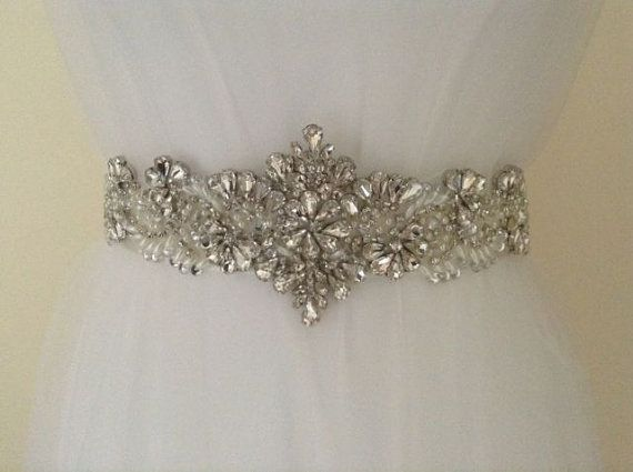 Crystal Bridal Sash-Rhinestone Wedding Belt-Bridal Sash-Wedding Dress Belt on Etsy, $87.67
