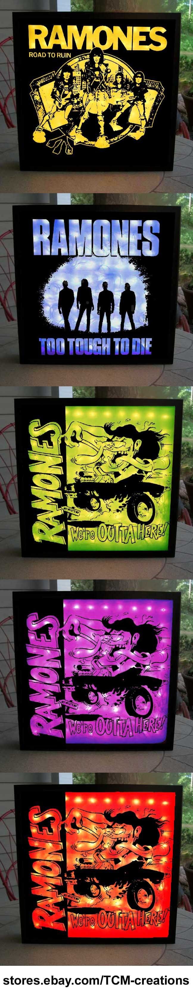 Ramones Shadow Boxes with LED lighting. Johnny Ramone, Joey Ramone, Tommy Ramone, Dee Dee Ramone, Ramones, Leave Home, Rocket To Russia, Road To Ruin, End Of The Century, Pleasant Dreams, Subterranean Jungle, Too Tough To Die, Animal Boy, Halfway To Sanity, Brain Drain, Mondo Bizaaro, Acid Eaters, Adios Amigos.