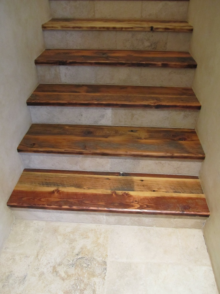 Skip planed corral board stair treads montana reclaimed for Reclaimed wood decking