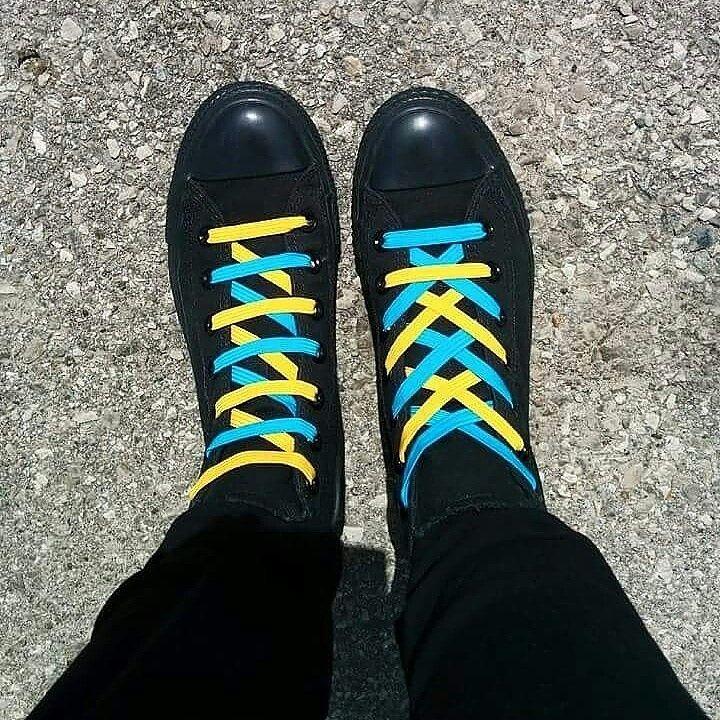 Kali Gold + Motley Blue. Shoelace Patterns