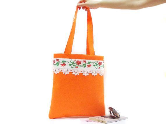 BIG SALE Neon bag Tote Bag Cross stitch bag Orange felt by aynikki
