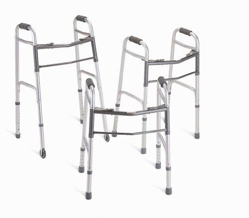 Deluxe Adult Walker by Medline. $47.42. Adult Walker w/3 Wheels, Height Adjustable 32.5-39.5 - Deluxe Walker.. 1 Each / Each.. Convenience and Stability Combine to Create Very Dependable Deluxe Two-Button Folding Walkers.. Please note that the stock photo may differ from the actual product model listed above.. MDS86410WH Features: -Each side operates independently.-Easy movement through narrow spaces.-Greater stability when standing up.-Front cross braces near top of wal...