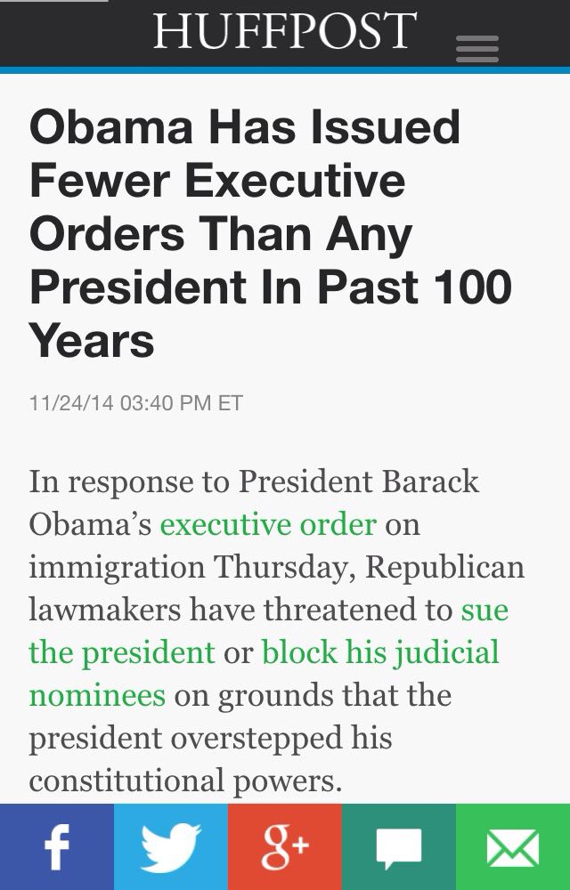 "Again...why is this not being thrown back in the Teapublicans face? President Obama has issued fewer executive orders than any other President in the last 100 years. Now that President Obama occupies the White House it's different?? Why?? Why are The GOP/Teabags screaming bloody murder, telling everyone ""The President has overstepped his bounds"" and Suing to repeal The ACA? Vindictive, Bigoted, Entitled, Crooked Men with a 9% approval rating but won the November elections. Shame on America."