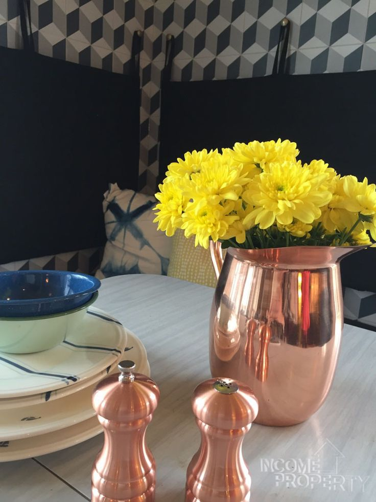 #rosegoldrosegold everywhere! We love that this #pink #copper has made a resurgence. We especially love it in this stunning #breakfastnook. Our #incomepropertydesign team are always dreaming up something beautiful for our homeowners to wake up to #incomepropertydesign #incomeproperty #vacationhomes @scottmcg @hgtv #rtrmedia