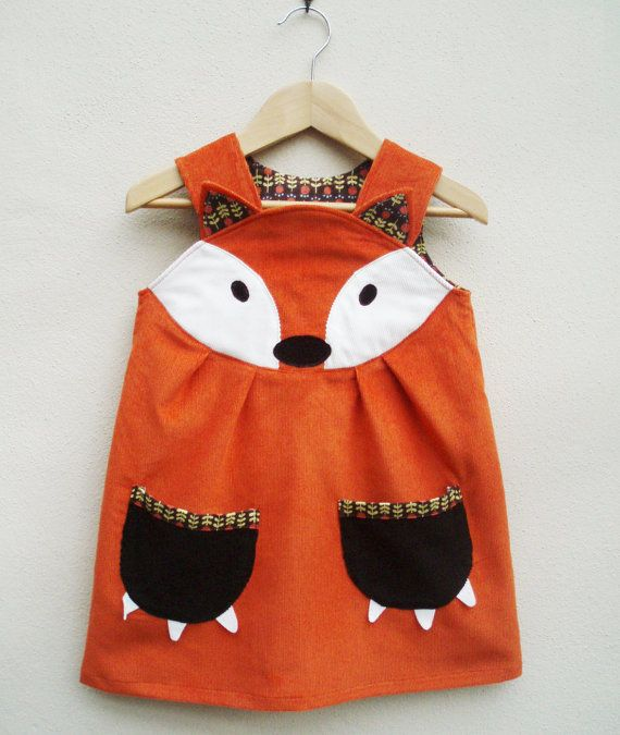 Fox in Socks Dress  by wild things dresses - Beautiful fox applique on the front yoke, with little ears,and matching printed cotton edged paw pockets.