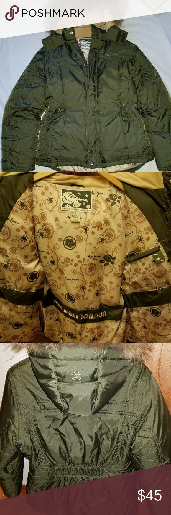 Pepe Jean London Winter Jacket Women fall/winter jacket. Filling: Down feather, coyote fur hood trim, draw string at the waste,  nice hardware. Jacket will keep you warm.  Very lightly worn once. Excellent condition. Jackets & Coats